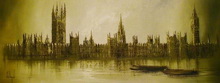 Houses of Parliament - Painting by John Bampfield