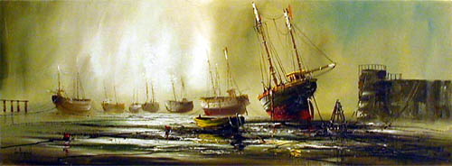 Harbour Scene II - Painting by John Bampfield