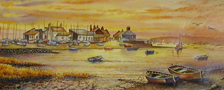 Mudeford Quay Sunset - Painting by John Dimech
