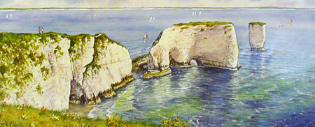 Old Harry Rocks II - Painting by John Dimech