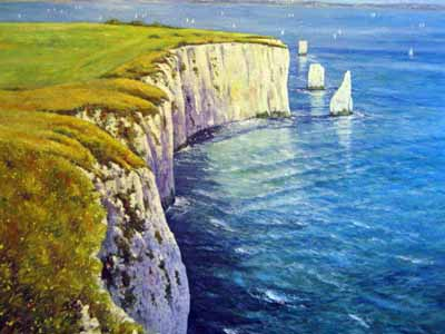 Old Harry Rocks - Painting by John Dimech