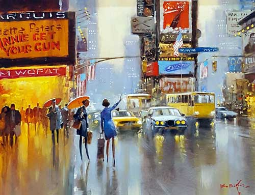 You Never Get One When It's Raining! - Painting by John Haskins