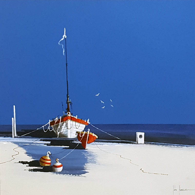Moonlit Mooring - Painting by John Horsewell