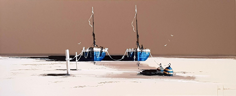 Moored Azure - Painting by John Horsewell