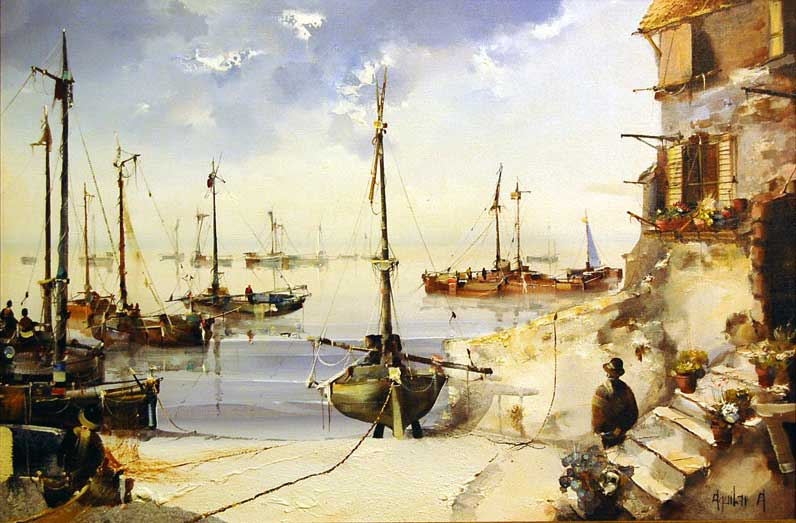 By the Harbour - Painting by Jorge Aguilar