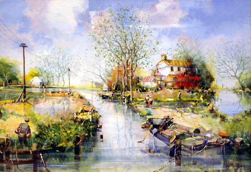 On the River - Painting by Jorge Aguilar