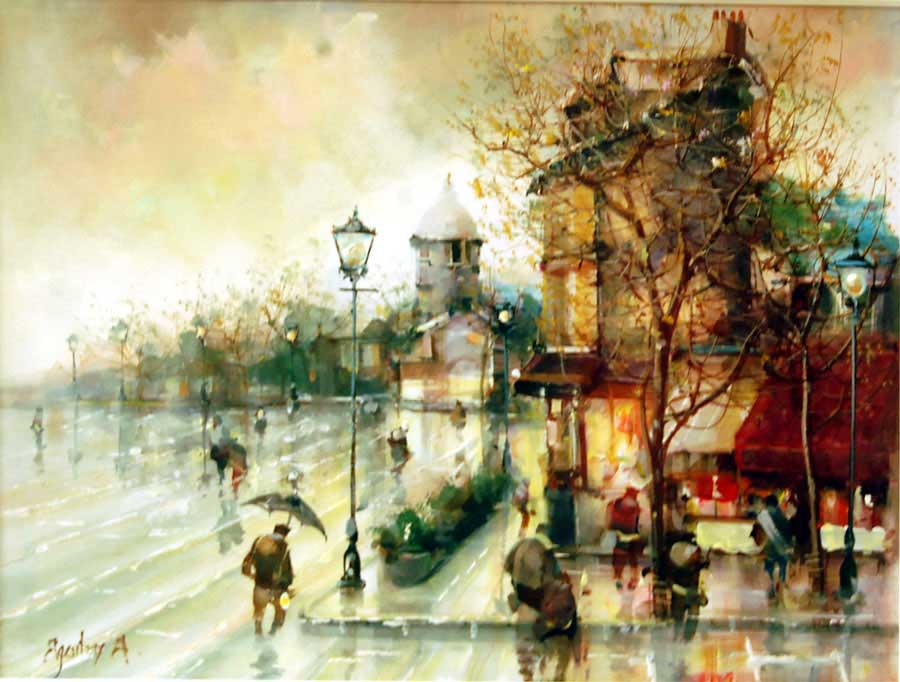Autumn Rain - Painting by Jorge Aguilar