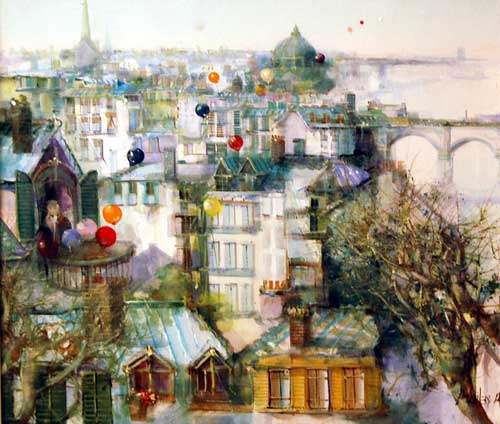 Roofs of Paris - Painting by Jorge Aguilar