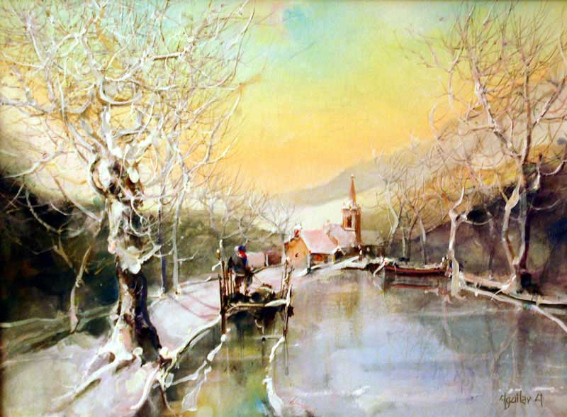 Early Snow - Painting by Jorge Aguilar