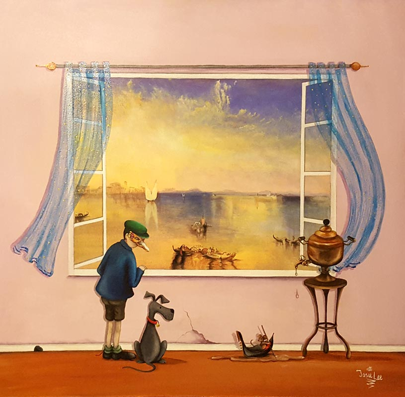 'View with a Room' series - Just One Cornetto - painting by Jose Lee