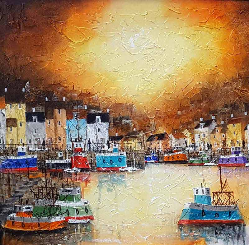Penzance Sunset - Painting by Ken Hammond
