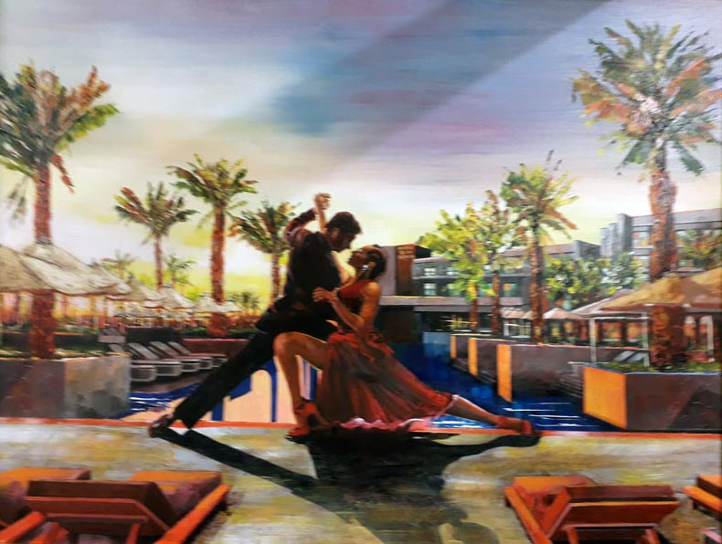 Hotel Rio Beach - Painting by Leonard Dobson