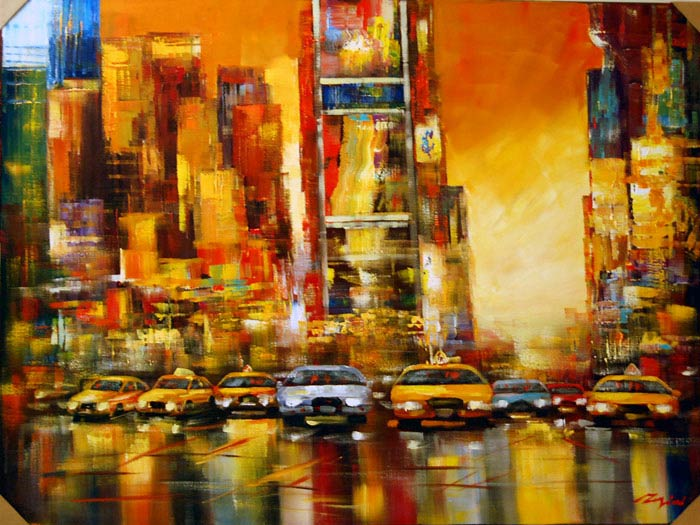 Times Square - Painting by Madjid