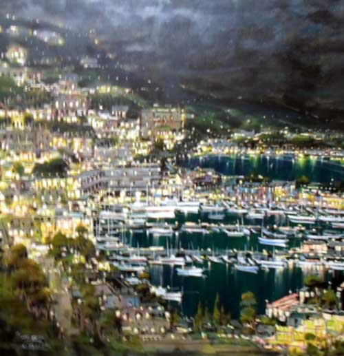 Cannes - Painting by Mario Sanzone
