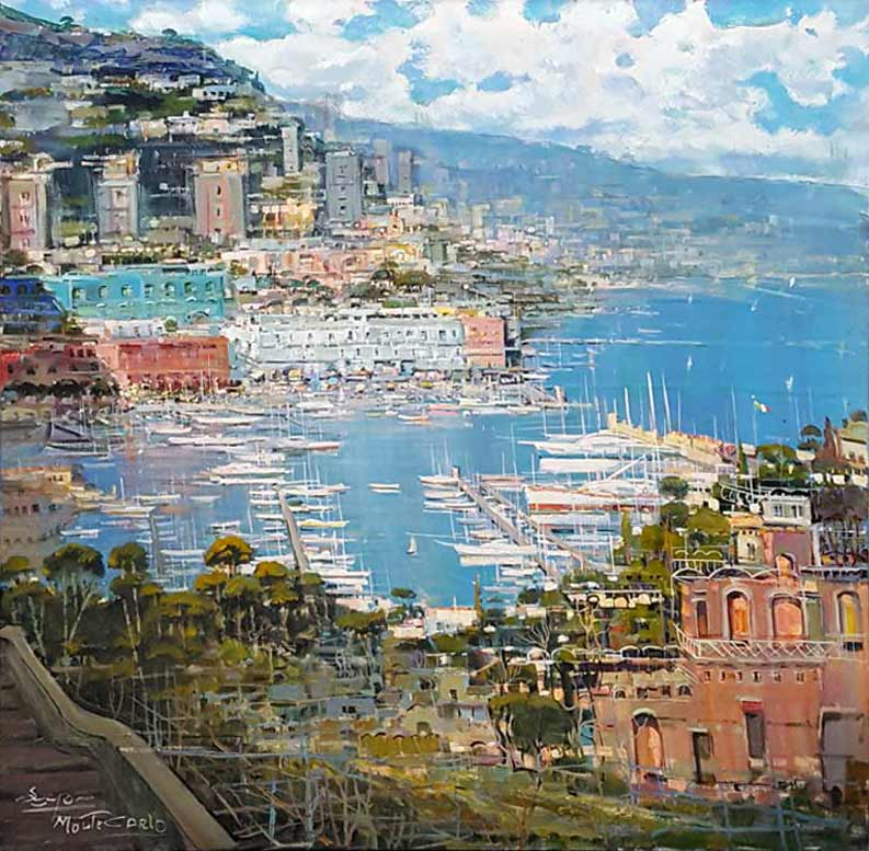 Monte Carlo Day - Painting by Mario Sanzone