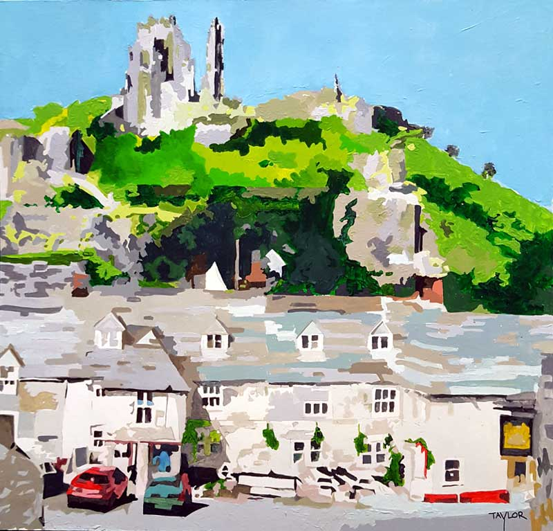 Corfe Castle - Painting by Martin Taylor