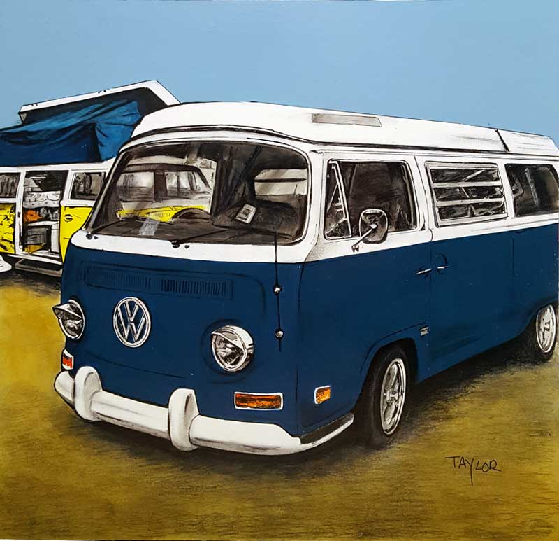 Blue Camper - Painting by Martin Taylor