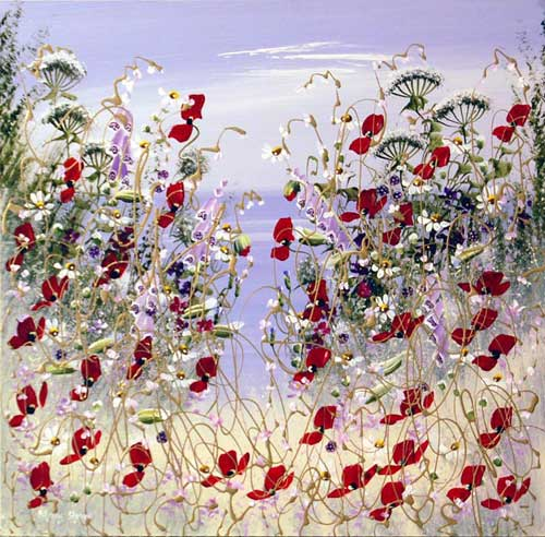 A Sea of Poppies - Painting by Mary Shaw