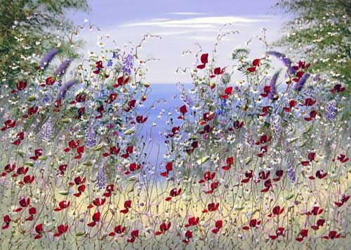 Salvia on the Wind - Painting by Mary Shaw