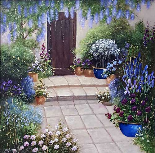 Blue Wisteria - Painting by Mary Shaw