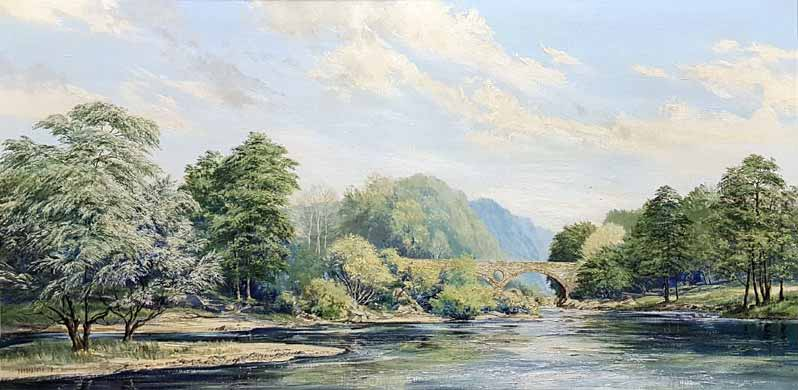 River Teifi at Cenarth Bridge - Painting by Michael Barnfather