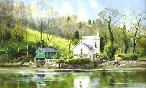 Boathouse, Dart Estuary - Painting by Michael Barnfather
