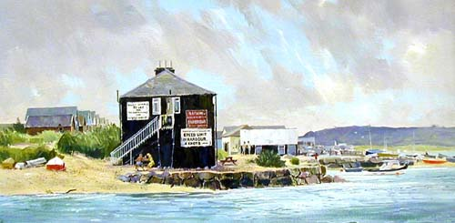 Beach Huts - View from Mudeford Quay - Painting by Michael Barnfather