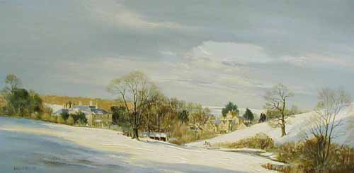 Symondsbury Village - Painting by Michael Barnfather