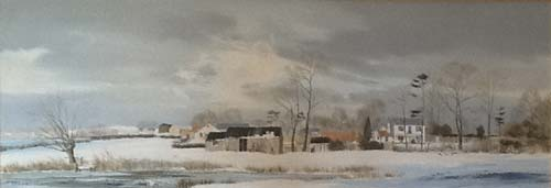 Snow at Eleigh Waterhouse and Farm - Painting by Michael Barnfather