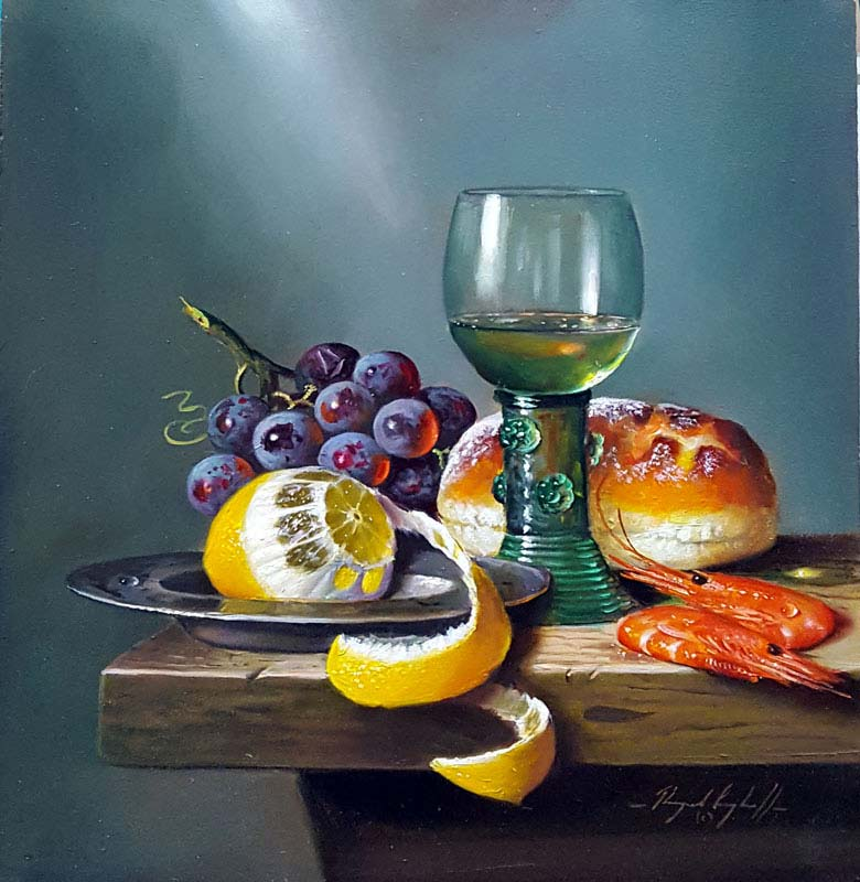 White Wine with Fruit - Painting by Raymond Campbell