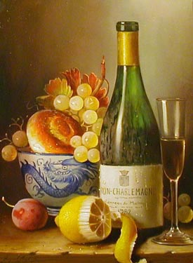 White Wine - Corton-Charlemagne - Painting by Raymond Campbell
