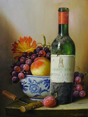 Chateau Latour 1985  - Painting by Raymond Campbell