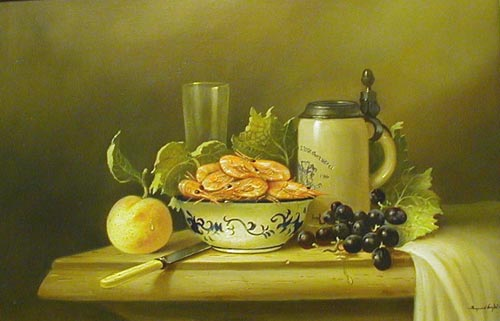 Still life with prawns - Painting by Raymond Campbell
