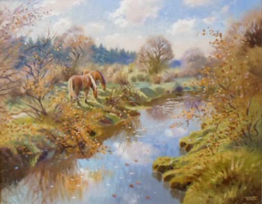 New Forest Ponies by the River - Painting by Richard Tratt