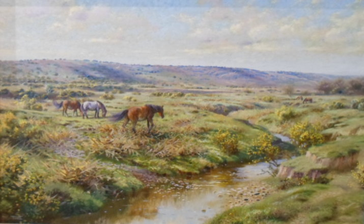 New Forest Ponies - Painting by Richard Tratt