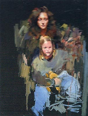 Sarah Singer and Child (Project 20) - Painting by Robert Lenkiewicz
