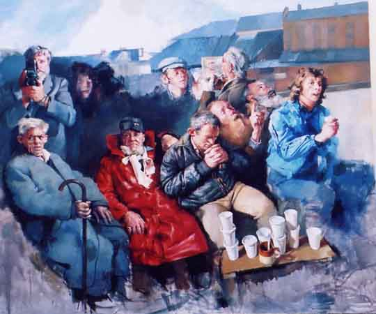 Christmas Dinner - Project 1 - Vagrancy - Painting by Robert Lenkiewicz