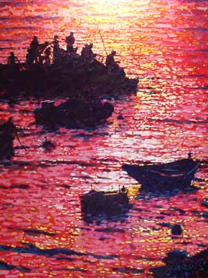 Fishing at Sunset - Painting by Rolf Harris