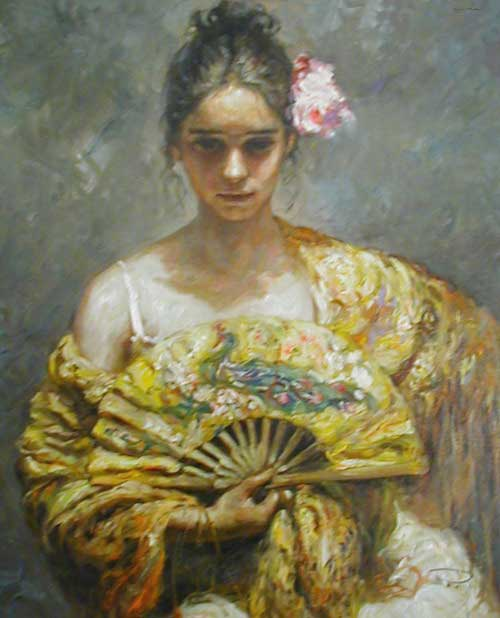 Girl With Fan - Painting by Royo