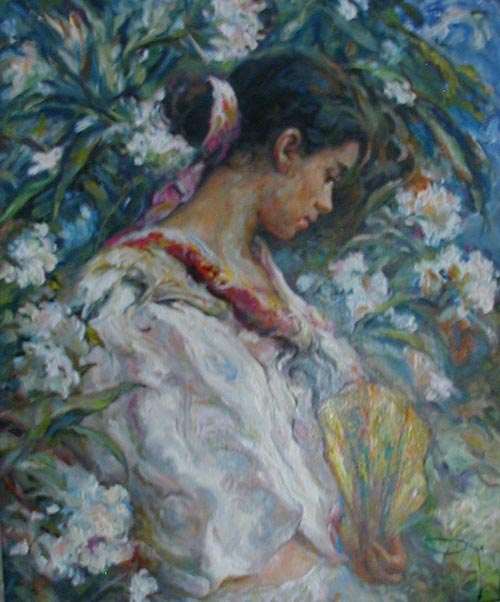 'Girl Amongst Flowers With Fan' - painting by Royo