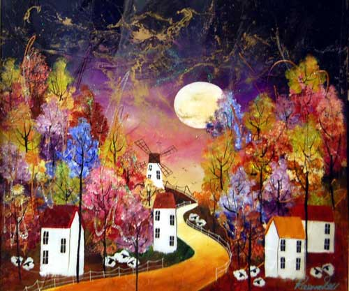 Moonlit Way - Painting by Rozanne Bell