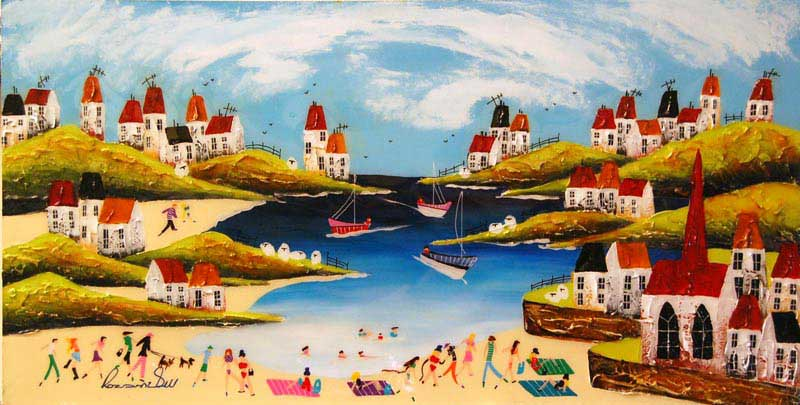 Beach Belles & Beaux - Painting by Rozanne Bell