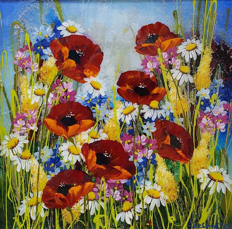 Poppy Burst - Painting by Rozanne Bell