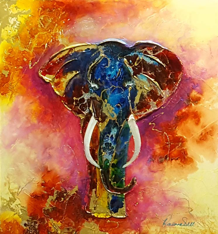 Tusks of Fire - Painting by Rozanne Bell