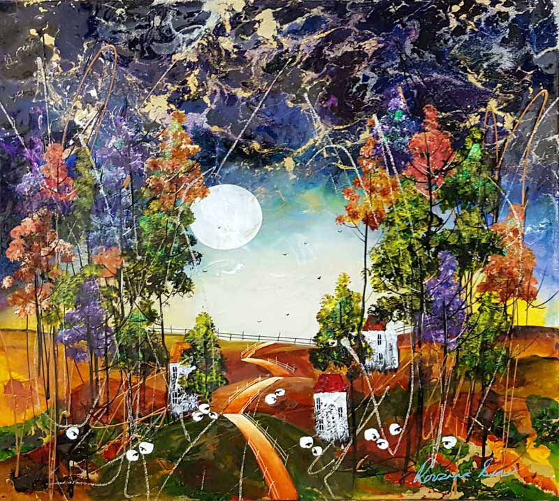 Golden Way - Painting by Rozanne Bell