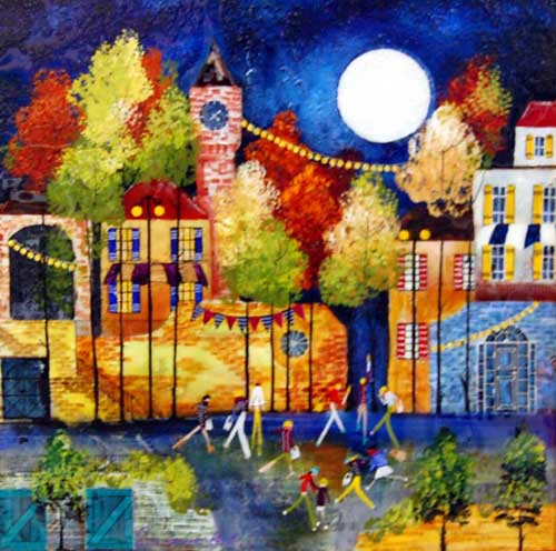 Moonlit Walk - Painting by Rozanne Bell