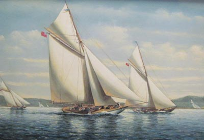 Americas Cup Yachts in the Med - Painting by Salvatore Colacicco