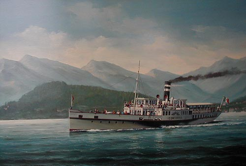 Concordia on Lake Como - Painting by Salvatore Colacicco