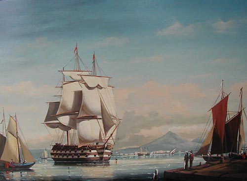Man-O-War in Naples Bay - Painting by Salvatore Colacicco