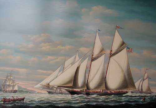 Yacht Madeleine Approximately 1890 - Painting by Salvatore Colacicco